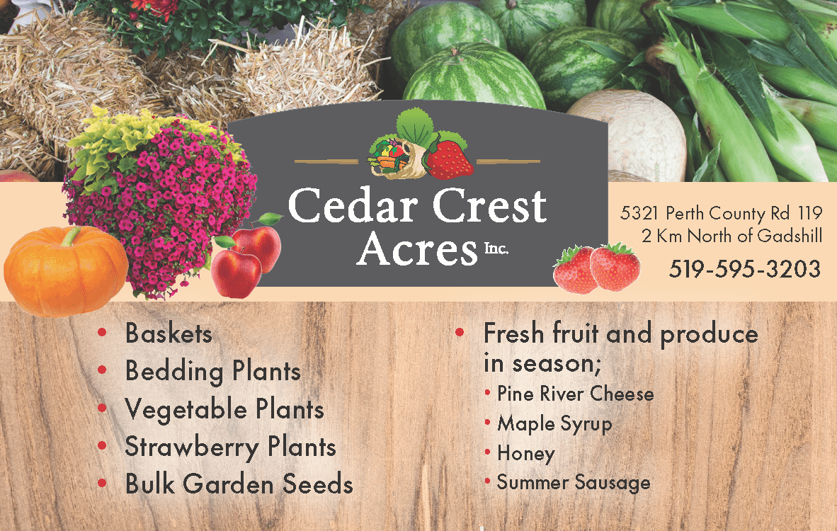 Cedar Crest Acres Farm Fresh Local Produce near Stratford